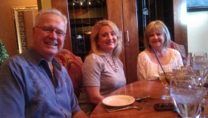 Dad (birthday boy) with my stepmom, Heather, and her mom, Becky.